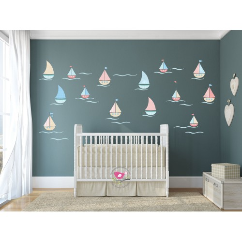 sailing boat nursery wall stickers kids wall decal boats children wall stickers