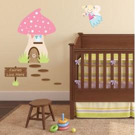 Enchanted Fairies Live Here Luxury Nursery Wall Art Stickers