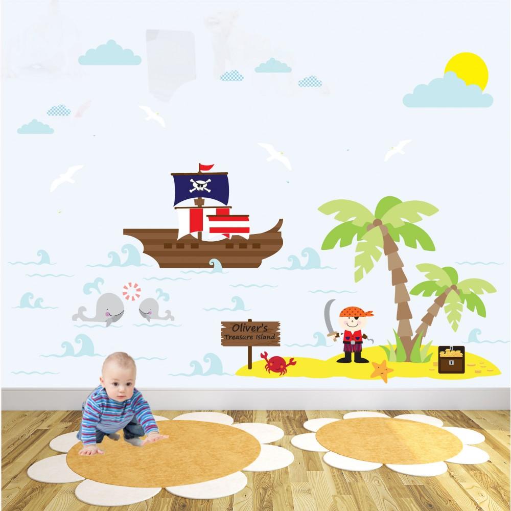 delux pirate nursery wall art sticker scene. Black Bedroom Furniture Sets. Home Design Ideas