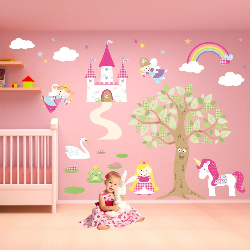 pics photos fairy princess border wall sticker girl princess wall decals