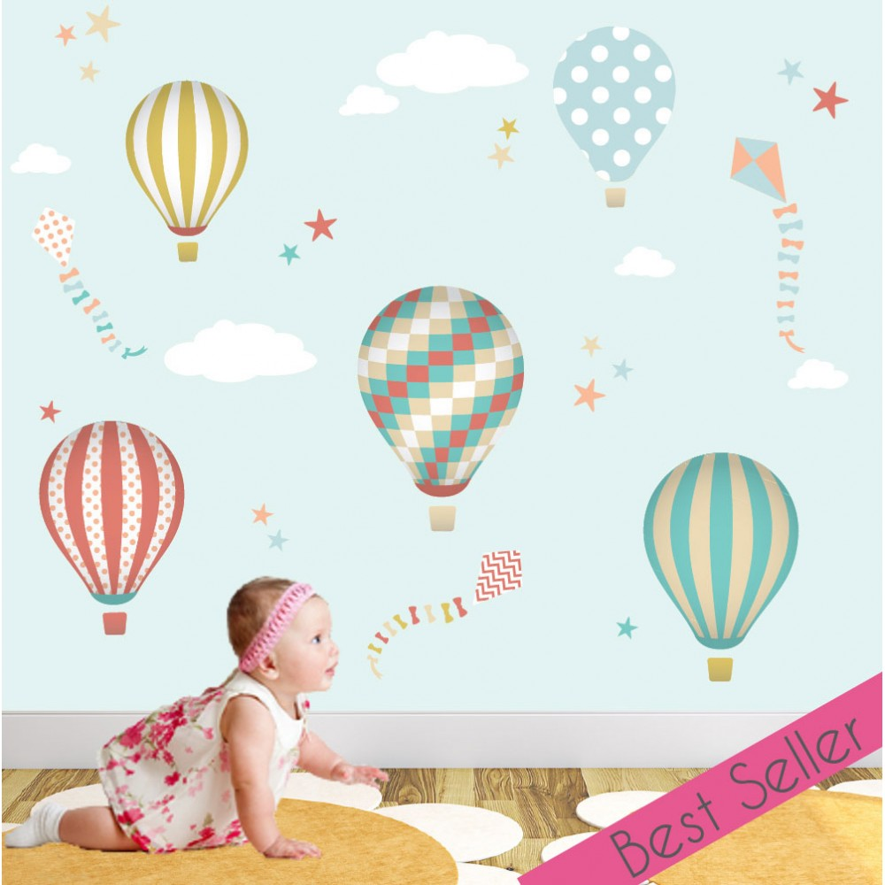 hot air balloons and kites wall sticker scene enchanted bunnies with balloons wall sticker stickerscape uk