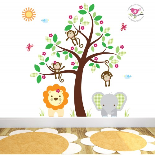 jungle wall stickers for a baby nursery room large jungle animals pack four wall stickers by the binary