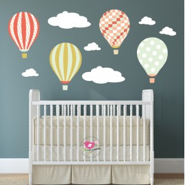 Hot Air Balloon Wall Decals with Clouds - Coral and Mint