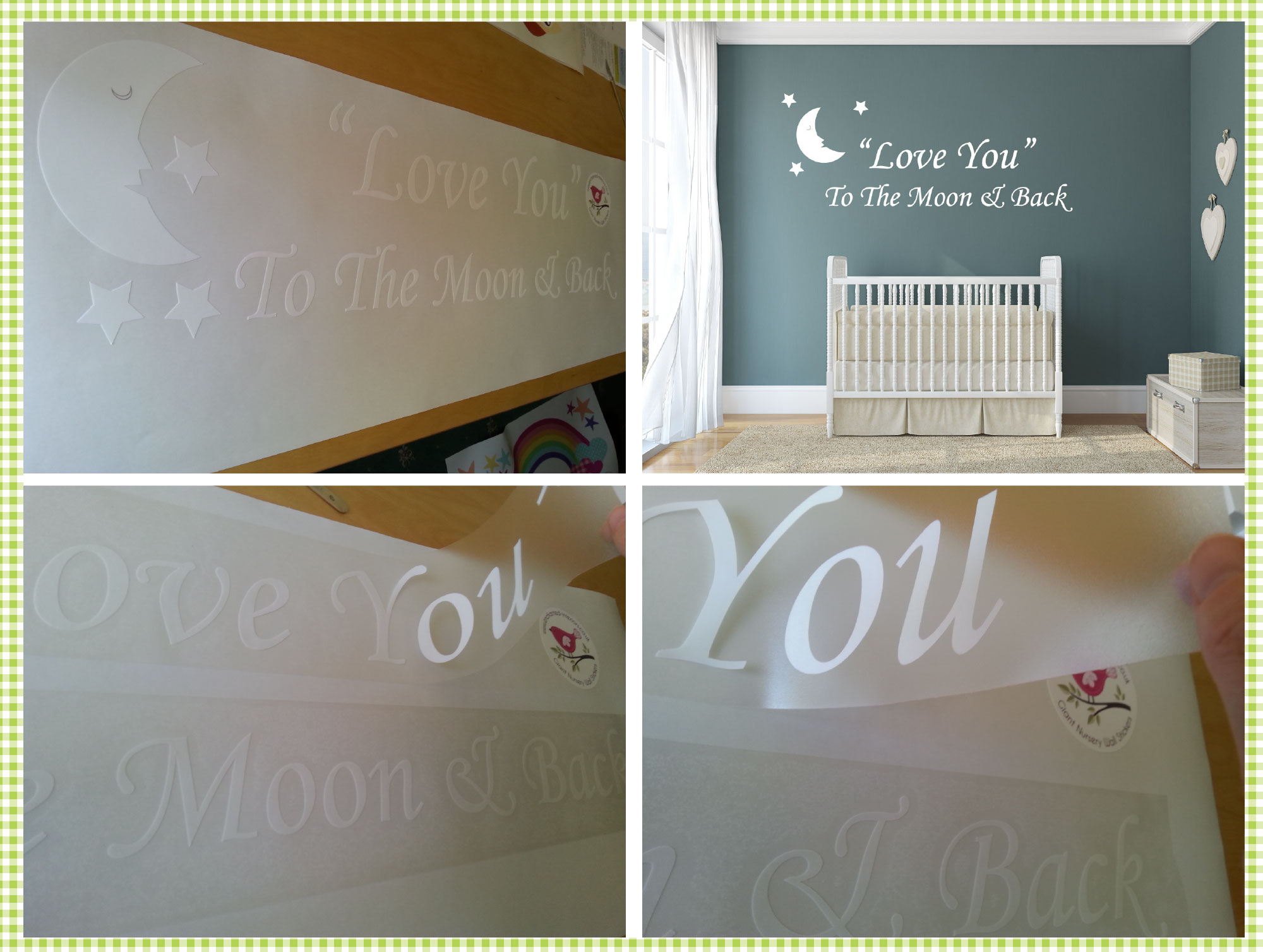 Love you to the moon and back nursery wall art quote