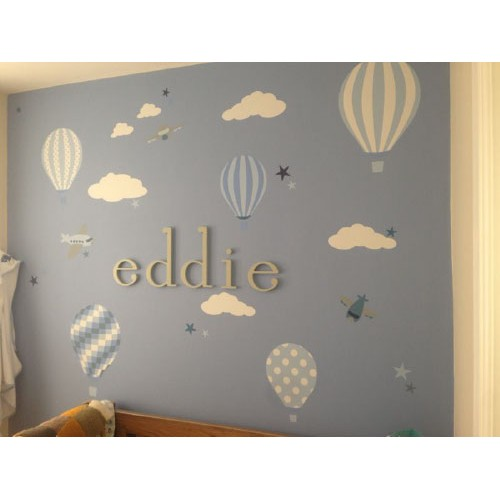 Hot air balloon jets wall stickers blue and grey previous next