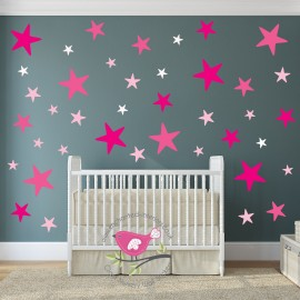 Girls Pink Star Wall Stickers