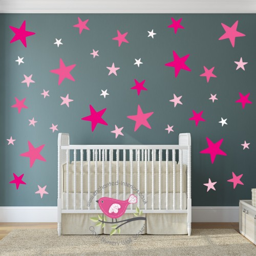 Modern Nursery Wall Art Pink Stars