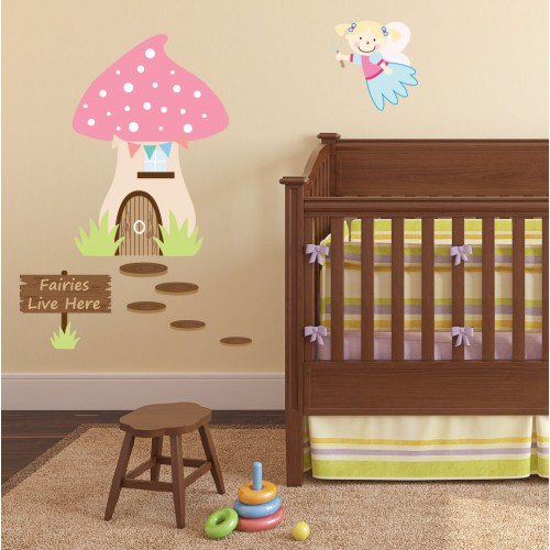 Enchanted Fairies Live Here Luxury Nursery Wall Art Stickers
