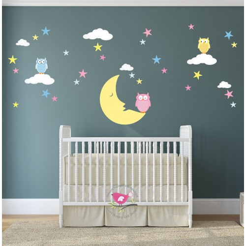 Magical Moon U0026 Owls Luxury Nursery Wall Art Stickers Part 78