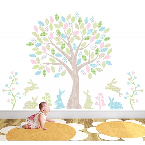 Dancing Woodland Rabbits Nursery Wall Art Stickers