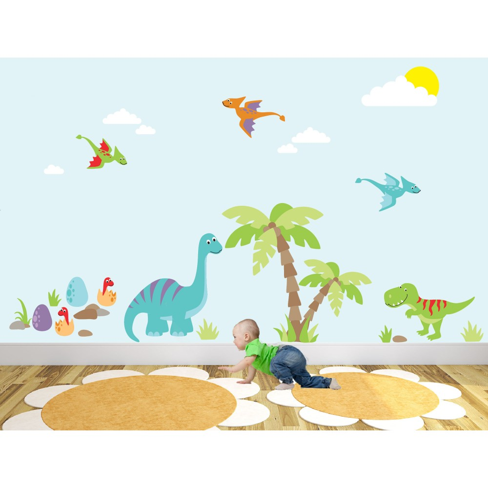 Luxury Dinosaur Nursery Wall Art Sticker Scenes