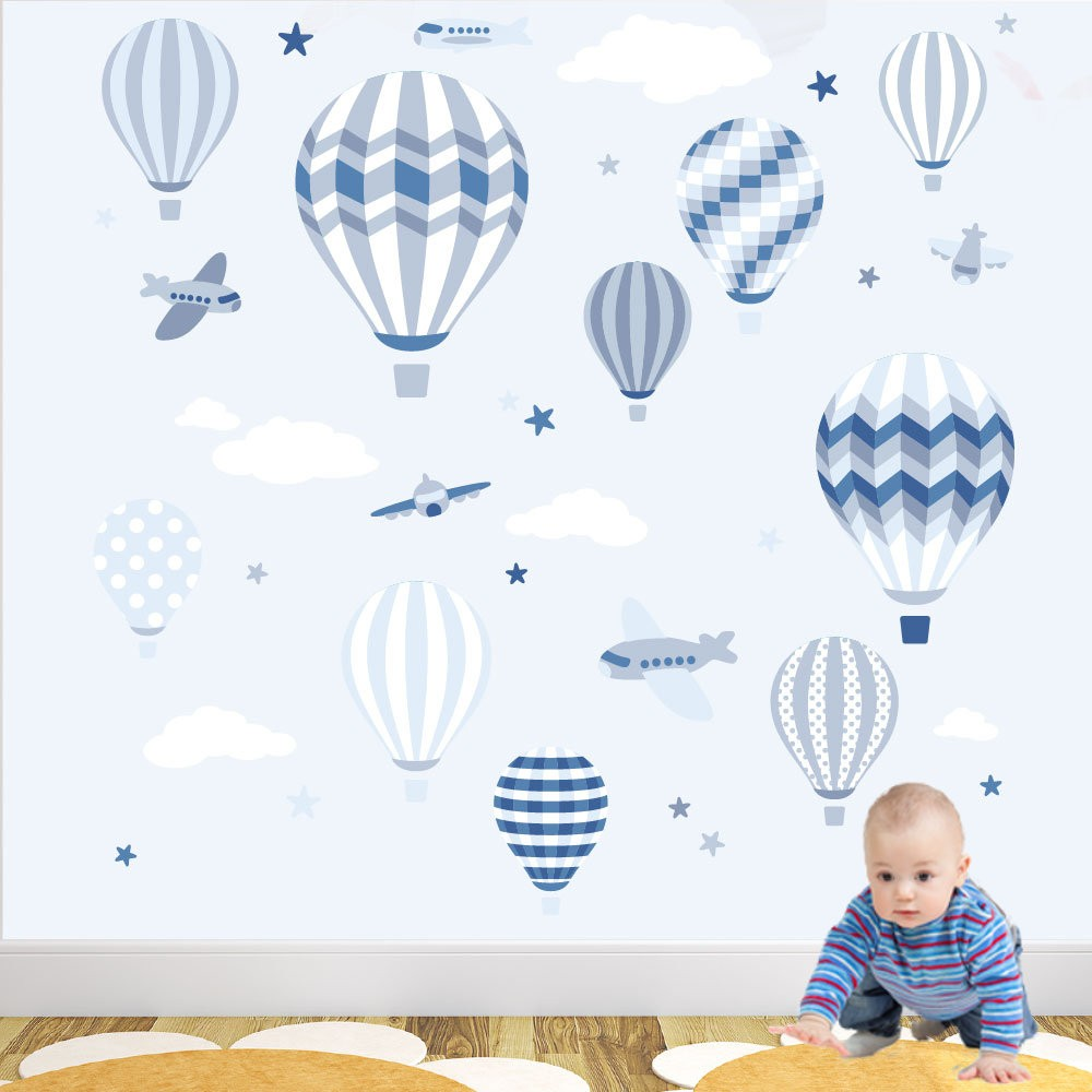 hot air balloon jets wall stickers deluxe hot air balloons and jets wall stickers