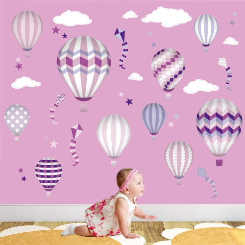 hot air balloon amp kites wall stickers clouds amp hot air balloons wall sticker achica