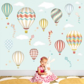 Deluxe Hot Air Balloons & Kites Neutral Wall Stickers