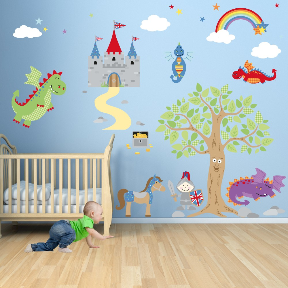 Enchanted royal knights and dragon nursery wall stickers for Sticker deco