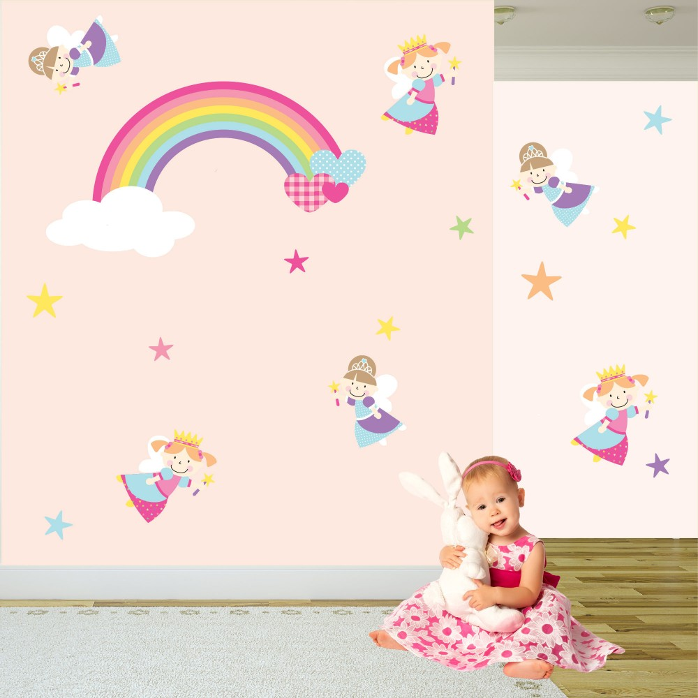 fairy princess rainbow nursery wall stickers