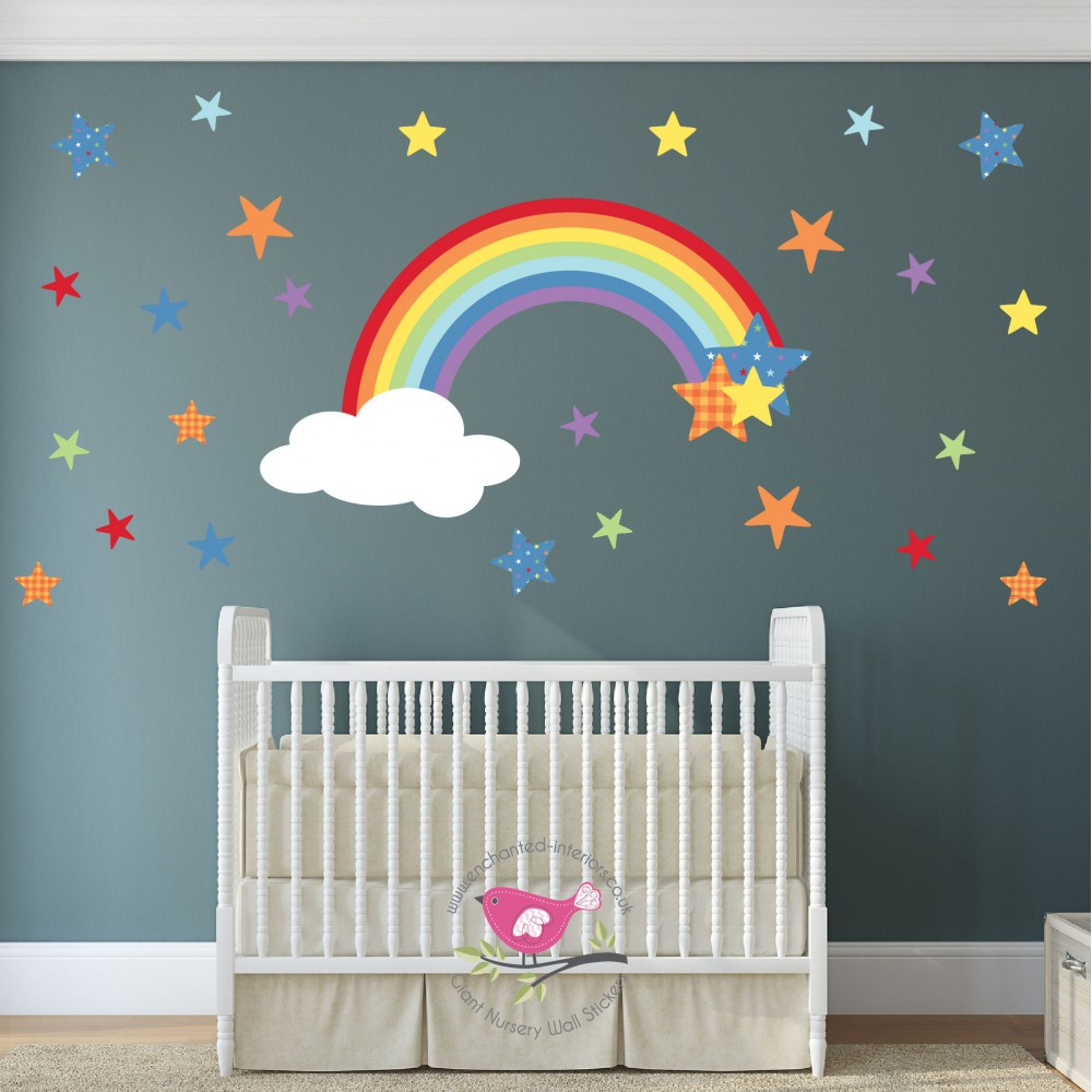 Magical Rainbow & Stars Nursery Wall Stickers