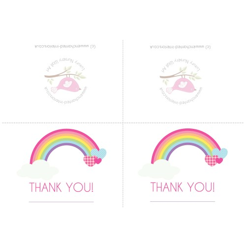 Free Downloadable Rainbowl Party Thank You Card