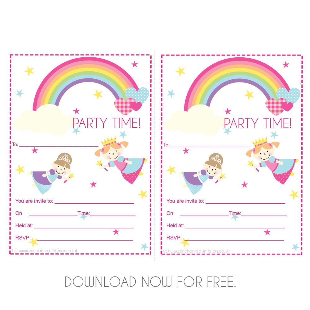 FREE Fairy Princess Party Invites - Enchanted Interiors