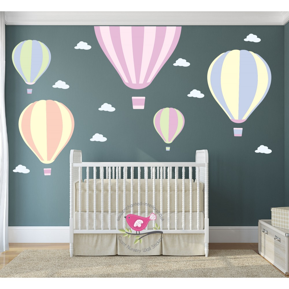 Giant Hot Air Balloon Nursery Wall Art Stickers