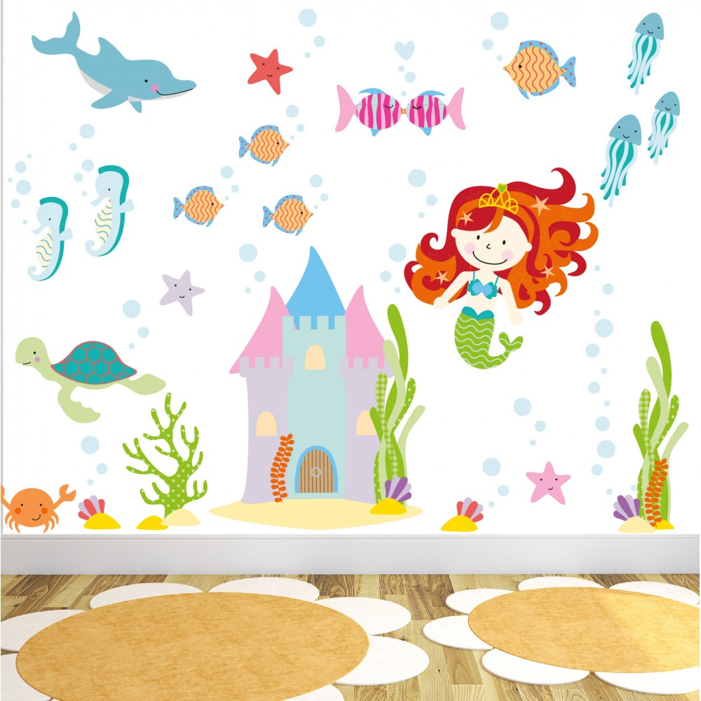 Mermaid theme for a little girls bedroom enchanted interiors magical mermaid wall stickers medium amipublicfo Images