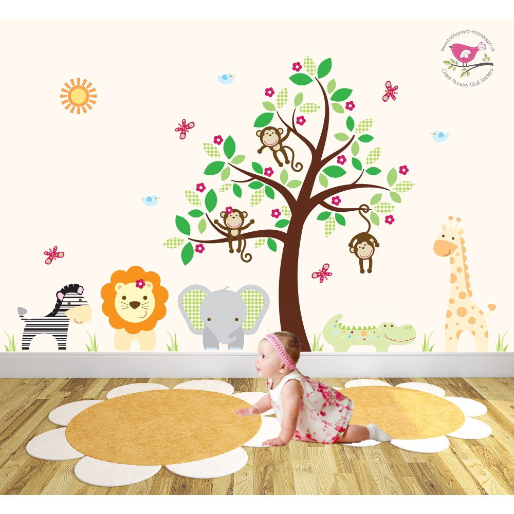 Safari Wall Stickers  sc 1 st  Enchanted Interiors & Safari Fabric Nursery Wall Stickers