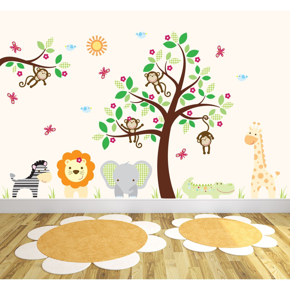 Deluxe Safari Nursery Wall Art Stickers