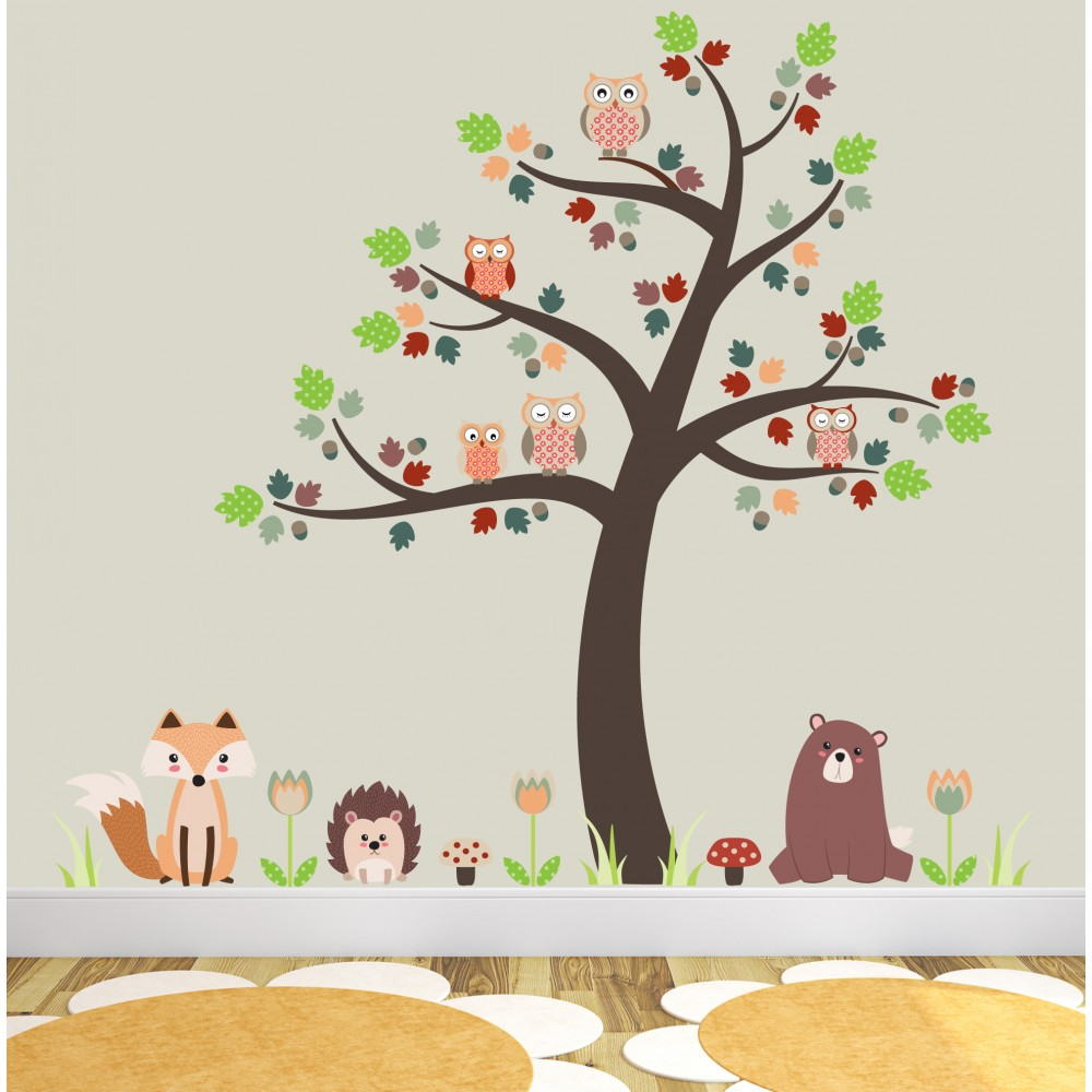Fox, Owls and Woodland Critters Nursery Wall Stickers