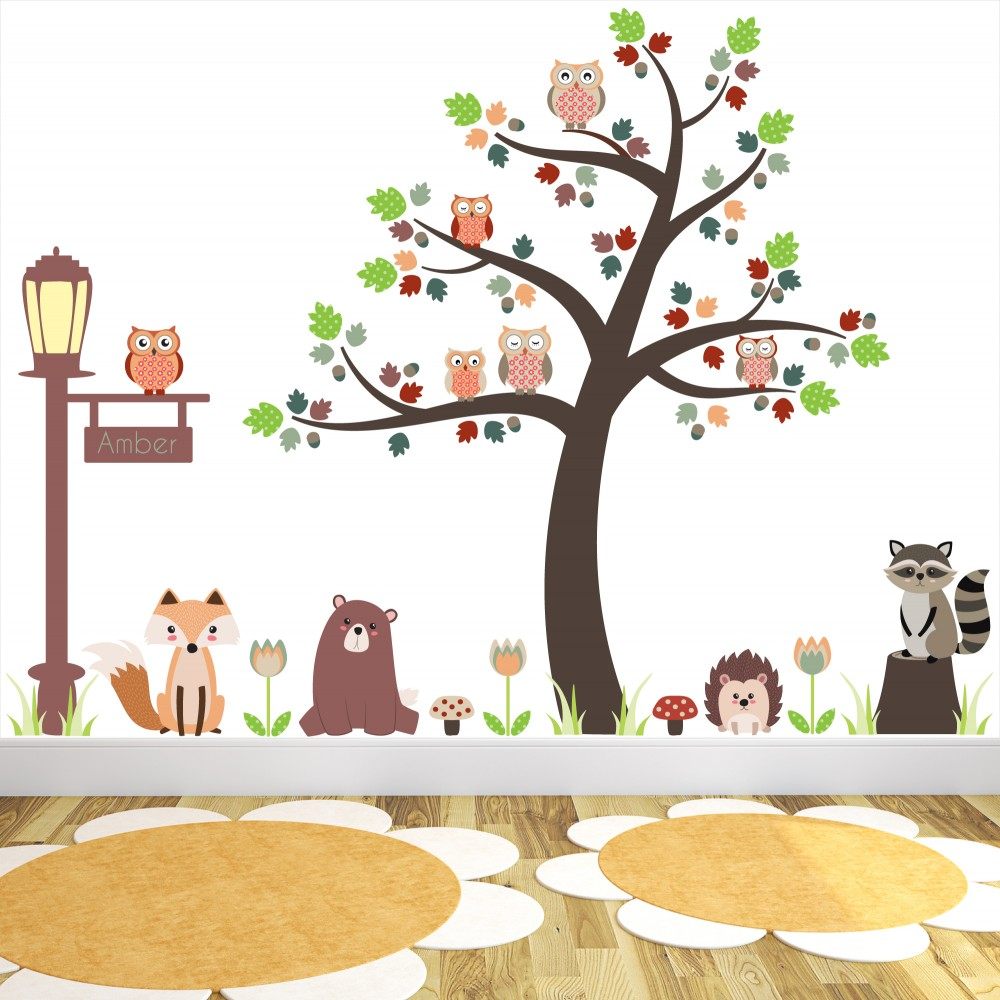 Amazing Deluxe Fox And Owls Woodland Critters Nursery Wall Stickers Part 32