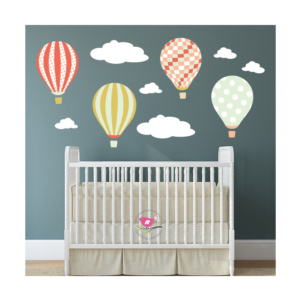 Hot Air Balloon Wall Decals With Clouds   Coral, Mint Gold