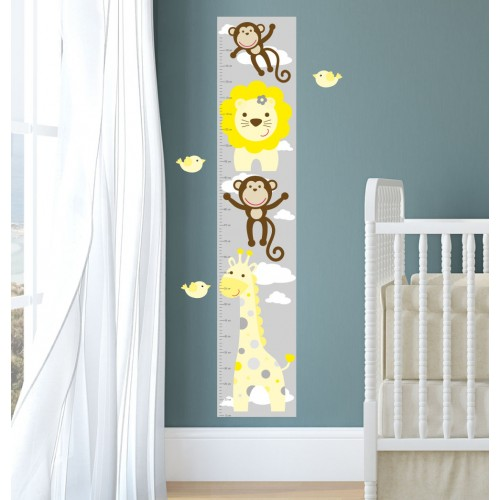 Jungle Animal Kids Growth Chart - Yellow Grey