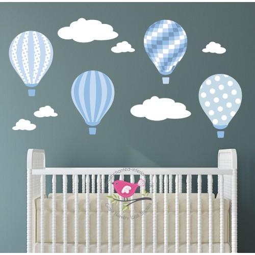 Hot Air Balloons & Clouds Nursery Wall Art Decals