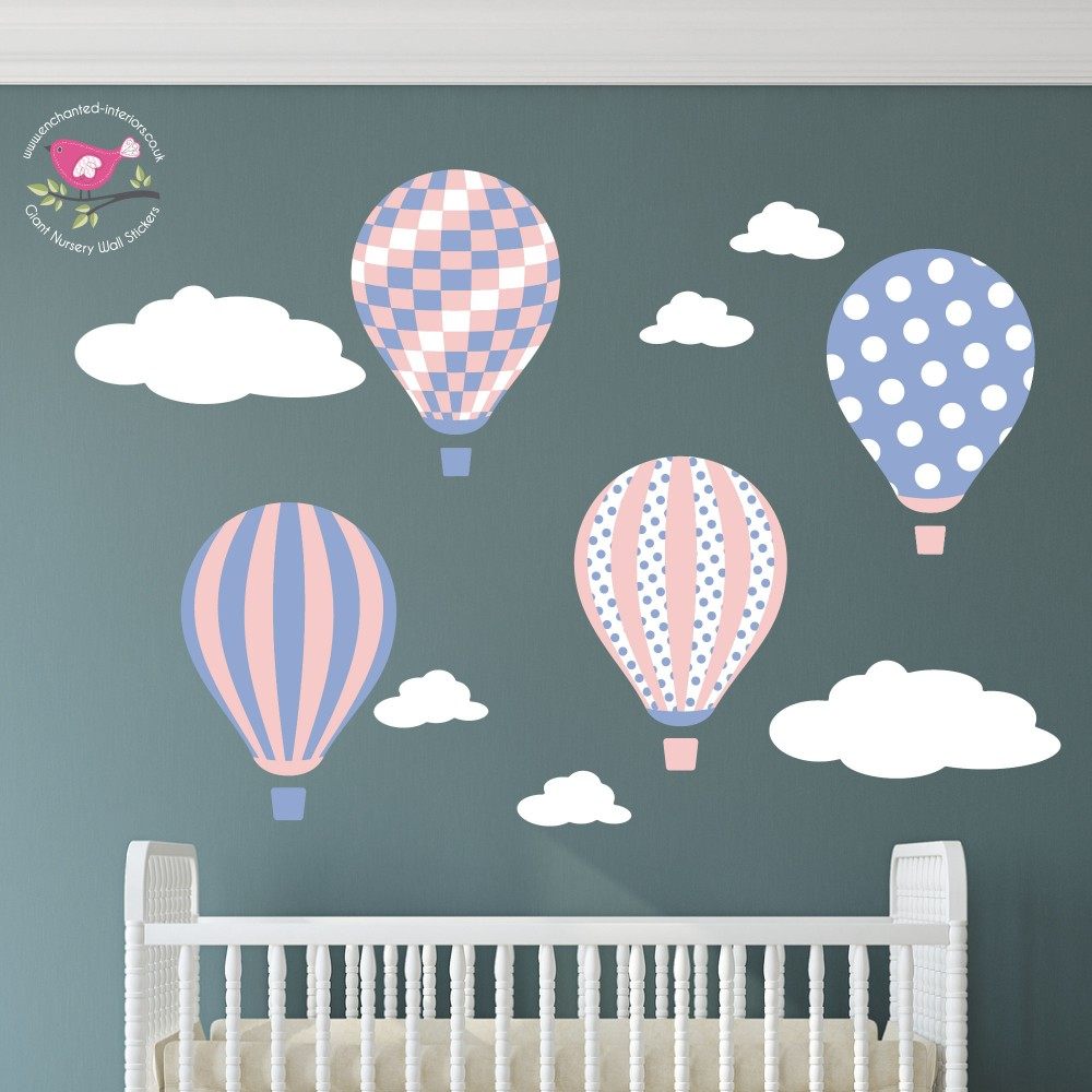 Hot Air Balloons & Clouds Wall Art Decals