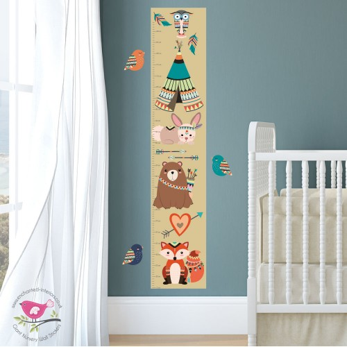 Tribal Woodland Animal Growth Chart Decal