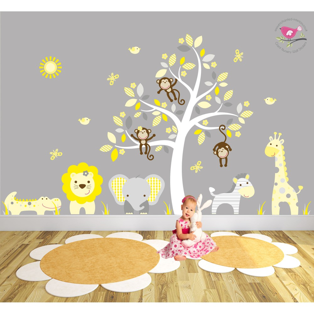Jungle Wall Stickers   Yellow And Grey Nursery Part 37