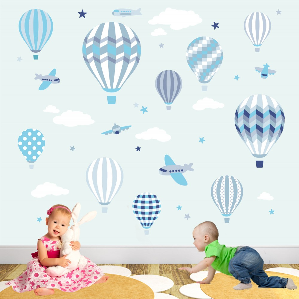 Hot air balloon jets wall stickers hot air balloons and jets wall stickers turquoise blue and grey amipublicfo Images
