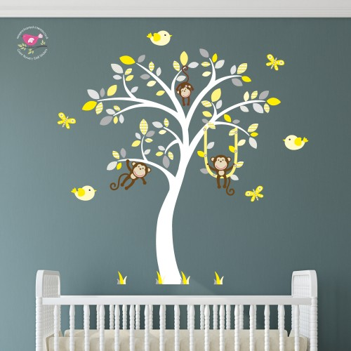 Swinging Monkeys, Yellow and Grey Nursery