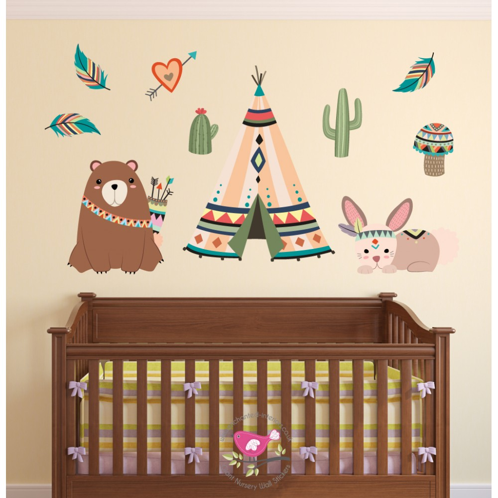 Tribal Bear and Rabbitl Nursery Wall Art Decals