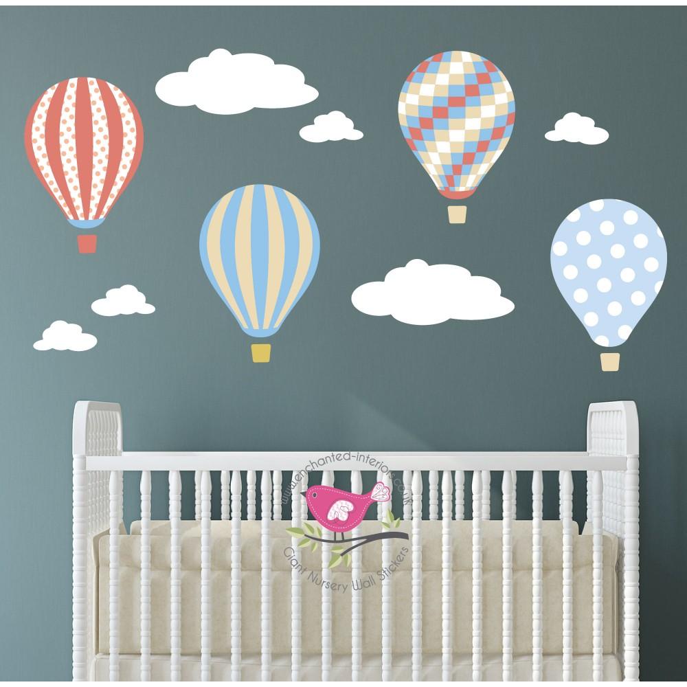 Neutral Hot Air Balloons & Clouds Wall Art Decals