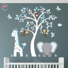 Elephant and Giraffe Blue and Grey Nursery