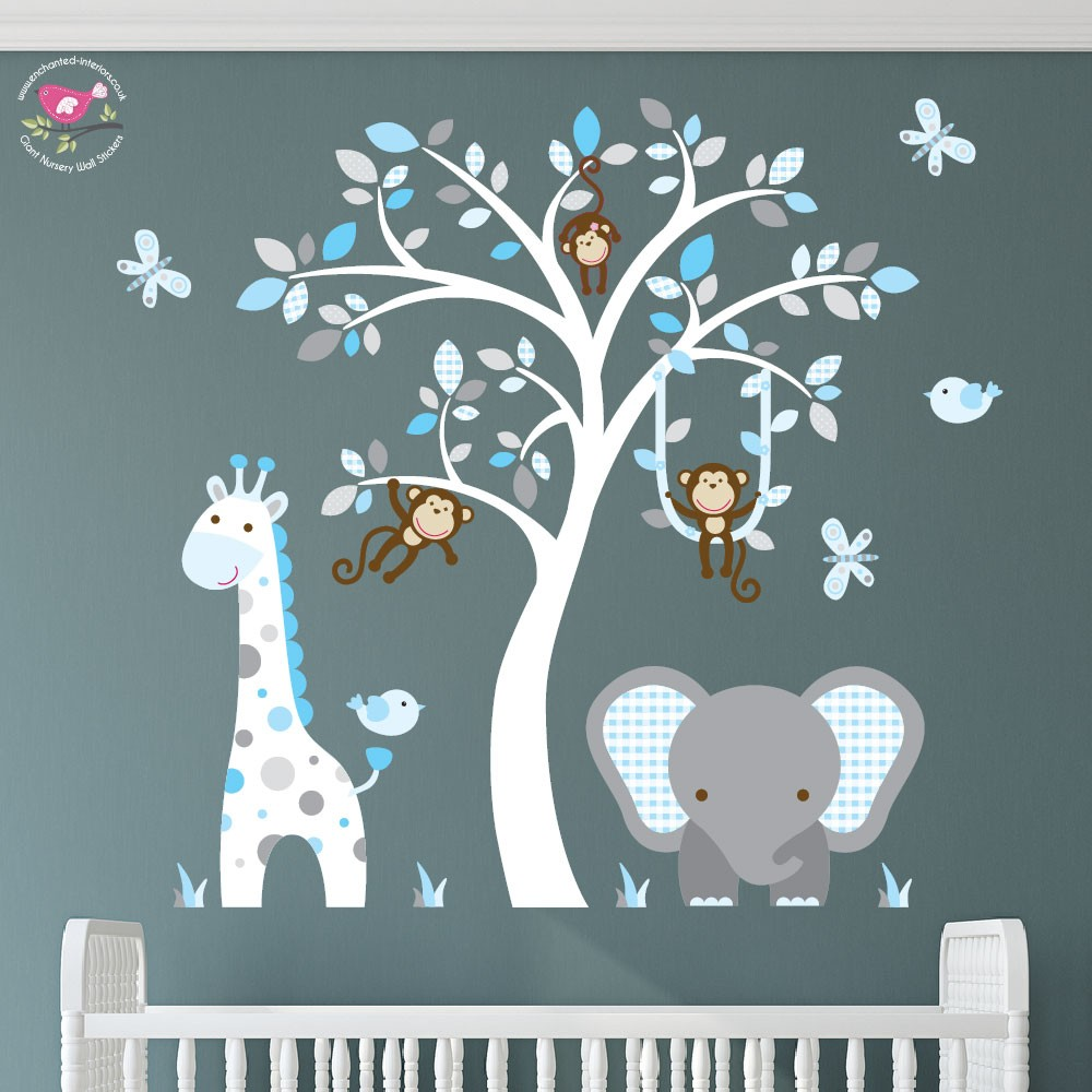 Elephant and Giraffe Blue, Grey & White Nursery