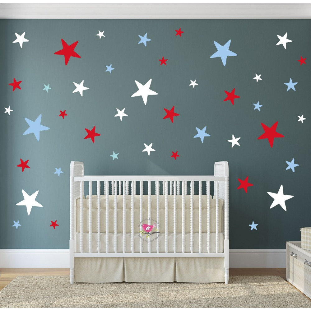 Red White and Blue Stars Modern Nursery Wall Stickers