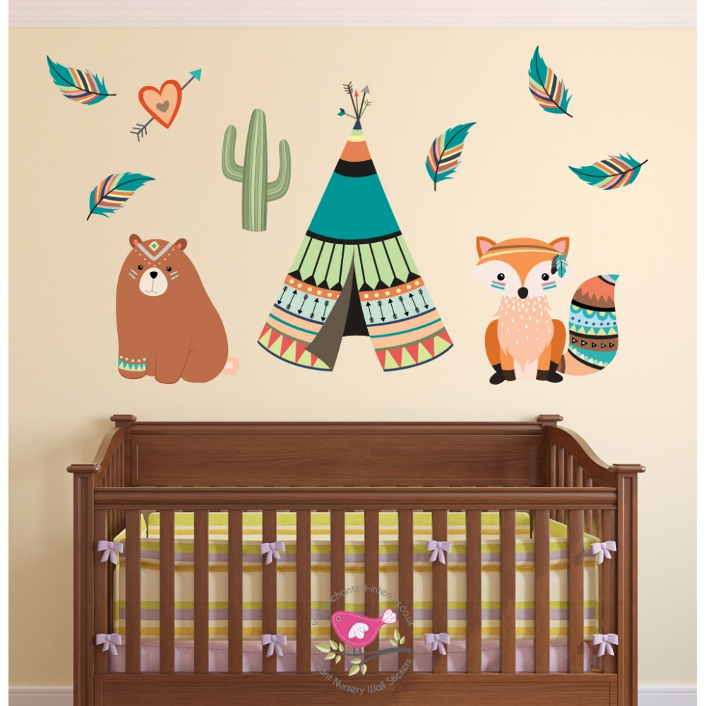 Wall Art Stickers For Nursery : Tribal animal nursery wall art stickers