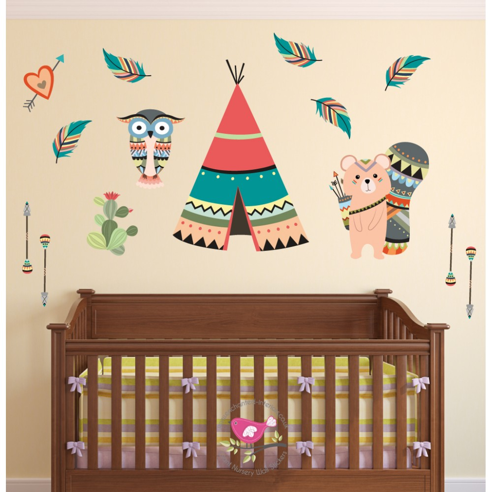 Tribal Owl and Mouse Nursery Wall Art Decals