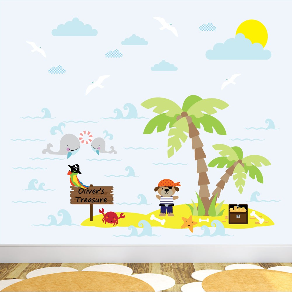 Pirate Dog Treasure Island Nursery Wall Stickers