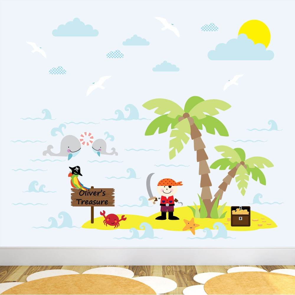 Pirate Treasure Island Nursery Wall Stickers