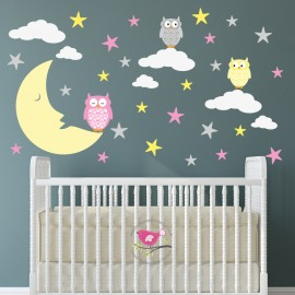 Owls and Moon Nursery Wall...