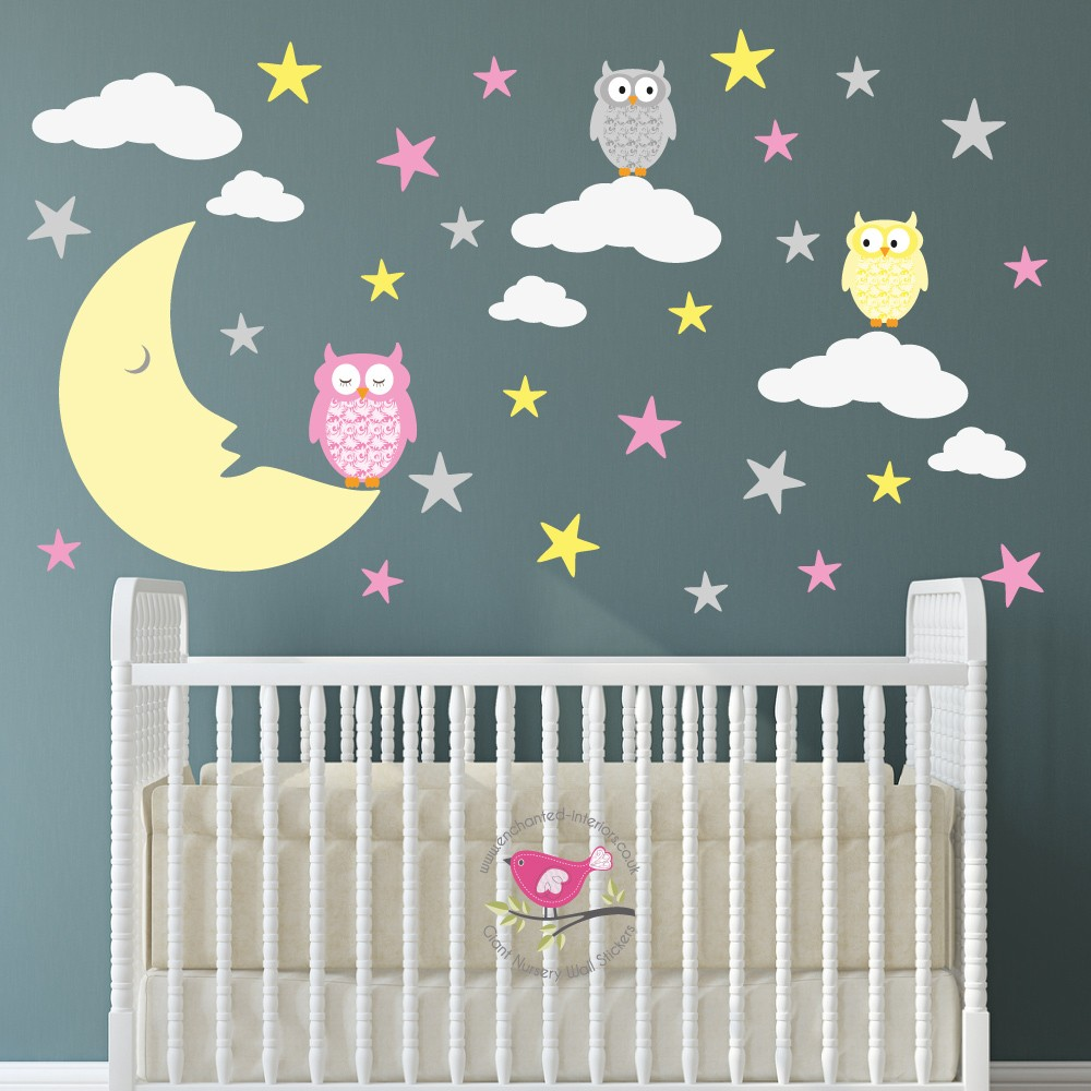 Magical Moon & Owls Nursery Wall Art Stickers