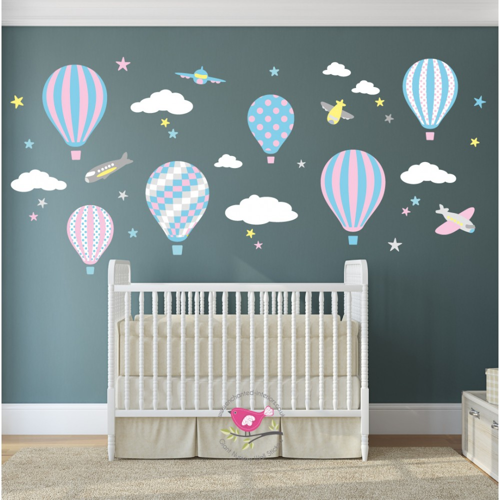 Hot Air Balloon U0026 Jets Nursery Wall Stickers Pink,. Part 16