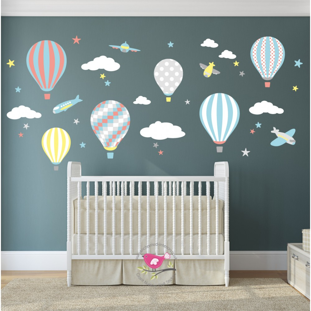 Hot air balloon jets wall stickers hot air balloon jets nursery wall sticker amipublicfo Choice Image
